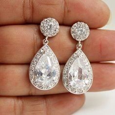 Wedding Earrings Wedding Jewelry Bridal Earrings by poetryjewelry