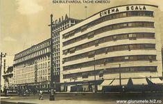Bulevardul Take Ionescu si Blocul Scala, construit în 1935, dupa planurile arhitectului german Rudolf Frankel. Bucharest, Romania, Multi Story Building, Park
