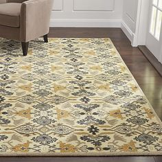 Delphine Sage Green Wool Rug | Crate and Barrel