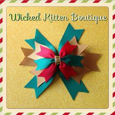 New to wickedkittenboutique on Etsy: Stacked Christmas Hair Bow Red Green and Gold (5.00 USD)