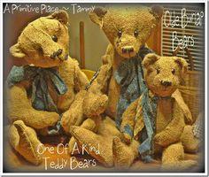 OOAK Handmade Primitive Burlap Teddy Bears