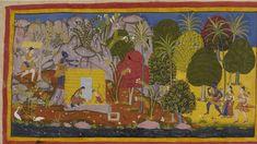 Rama and Sita setting up their hut in Panchvati. Mewar Ramayana manuscript