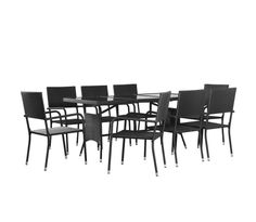 Tidyard 9 Piece Outdoor Dining Set Table and Stacking Chairs Glass Table-top Poly Rattan Garden Patio Furniture Set B. Garden Dining Set, Outdoor Dining Set, Outdoor Chairs, Outdoor Decor, Dining Sets, Patio Furniture Sets, Garden Furniture, Outdoor Furniture, Picknick Set