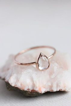 Thin rose gold ring.