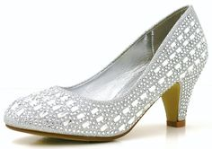 Womens Ladies Diamante Jewel Low Kitten Heel Fashion Prom Party Bridal Occasion Pumps Court Shoes - J28 (7, SILVER)