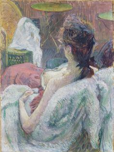 The Model Resting by Henri de Toulouse-Lautrec. French, 1889. Tempera or casein with oil on cardboard. Henri de Toulouse-Lautrec's painting shows a bit of Paris life with a partially clothed woman rec