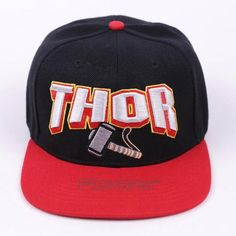 Marvel Super Hero Thor Cool Black and Red Streetwear Snapback a382601f27b