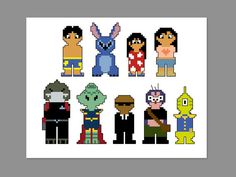 Lilo and Stitch Pixel People Character Cross by CheekySharkLabs