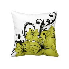 Gold, Black & white Throw Pillow $59.95