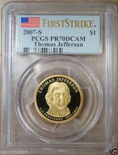 2007 s Thomas Jefferson Dollar PCGS PR70DCAM First Strike