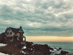 mint green oceanside coastline sunrise sunset