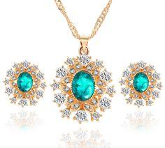 New Wedding Crystal Jewelry Sets Snowflake&Waterdrop Drop Rhinestones Bijoux Earrings Necklaces Set For Women Collier Femme #Affiliate