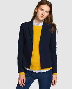 Blazer básica de mujer Easy Wear en azul marino Outfit Blusa Azul Marino d414827a7f39