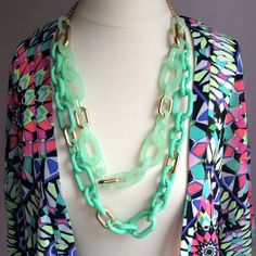 """Mint Green Chain Link Necklace HOST PICK- Everyday Darling Party!!OFFERS WELCOME. PLEASE USE THE OFFER BUTTON. I do not negotiate price in the comments. Very fun acrylic mint green and gold tone chain link necklace. Not real gold. Very lightweight. Length is 32"""" with a 2"""" extender. New, never worn. Jewelry Necklaces"""