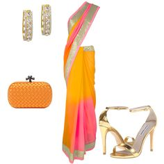 Be Yourself - Gorgeous & Fashion-savy in this Lux Shoppe ombre orange, pink and yellow mirrorwork saree. Paired with Steve Madden strappy sandals, bottega veneta clutch & Lux Shoppe U-shaped earrings Inspiration Boards, Style Inspiration, Orange Pink, Yellow, Asian Bridal, Strappy Sandals, Bottega Veneta, Online Boutiques, Bridal Dresses