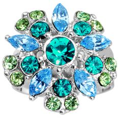 Blue Green Erotic Flower Adjustable Ring