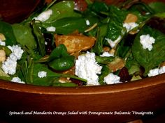 Spinach and Mandarin Orange Salad with Pomegranate Balsamic Vinaigrette - Mother Rimmy's Cooking Light Done Right