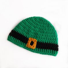 Leprechaun Buckle Beanie, St. Patrick's Day Hat, Crochet St Pattys Day Hat, Lucky Hat, Green with Gold Buckle by BarberrySparrow on Etsy https://www.etsy.com/listing/514627553/leprechaun-buckle-beanie-st-patricks-day