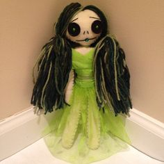 Green Haired Doll Art Doll Collectible Doll by RiotGirlCreations