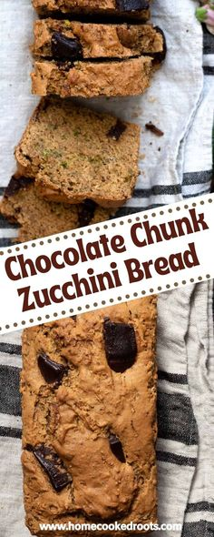 This is the perfect loaf to enjoy for breakfast, as a snack, or for dessert. Thick chocolate chunks are mixed into the batter for sweet and creamy chocolate flavor in every slice. The loaf is dense while still being moist. It's vegan and made with zucchini, so a little healthier than traditional recipes, but you'd never guess it! Veggie Snacks, Healthy Vegan Snacks, Vegan Desserts, Healthy Recipes, Baking Recipes, Snack Recipes, Dessert Recipes, Bread Recipes, Vegan Zucchini