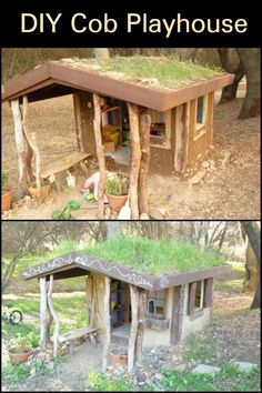 Interested in Building Your Own Cob Home? Practice on a Small Scale by Building a Cob Playhouse Simple Playhouse, Playhouse Kits, Backyard Playhouse, Build A Playhouse, Wooden Playhouse, Backyard Chicken Coops, Chickens Backyard, Natural Building, Green Building