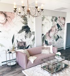 modern glam interior design featuring blush pink velvet sofa, glam chandelier and floral wallpaper designed by Alisa Bovino Estilo Interior, Retro Home Decor, Pink Home Decor, Living Room Designs, Wall Designs For Bedroom, Living Room Ideas 2019, Design Bedroom, Sofa Design, Interior Decorating