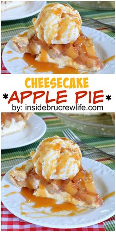 Cheesecake topped with an easy homemade apple pie filling is an amazing pie to serve for dessert.: Cheesecake topped with an easy homemade apple pie filling is an amazing pie to serve for dessert. Apple Desserts, Apple Recipes, Fall Recipes, Great Recipes, Delicious Desserts, Yummy Food, Favorite Recipes, Amazing Recipes, Yummy Recipes