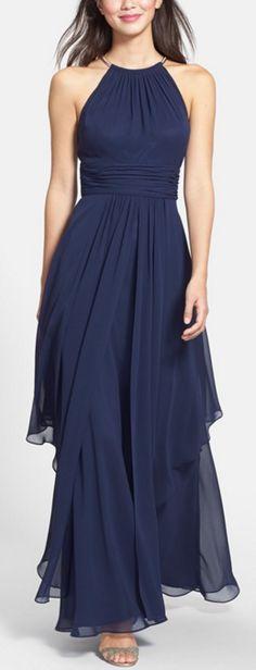 Beautiful chiffon halter gown #nordstrom @nordstrom