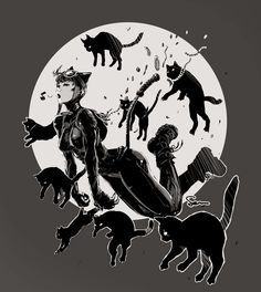 9 lives : 8 cats + Catwoman by ~semsei