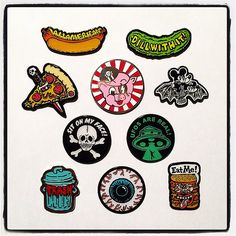 All of our enamel pin designs are in stock! #enamelpins #allamerican #dillwithit #pizzaknife #porku #mickeybat #sitonmyface #ufosarereal #trash #eyeballs #eatme #porkshop #megamall #smh2015 | Flickr - Photo Sharing!