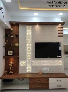 Lcd Unit Design, Lcd Wall Design, Modern Tv Unit Designs, Tv Unit Interior Design, Tv Unit Furniture Design, Living Room Tv Unit Designs, Ceiling Design Living Room, Room Door Design, Tv Unit For Bedroom