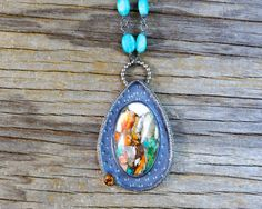 CUSTOM  listing - Orange Spiney Oyster w/ kingman turquoise, bronze, citrine and amazonite necklace.