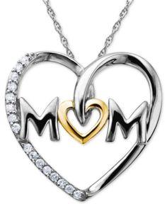 Maman argent sterling et 10k Or Rose Diamant Collier