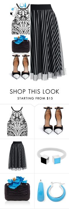 """""""A Touch of Blue"""" by gardenrosesgraphics ❤ liked on Polyvore featuring Alice McCall, Givenchy, Chicwish, Delfina Delettrez, Nancy Gonzalez and Mixit"""