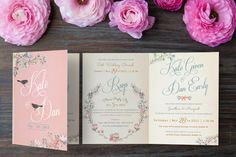 Floral Wedding Invitations | Wedding Invitation by Kerry Harvey Designs