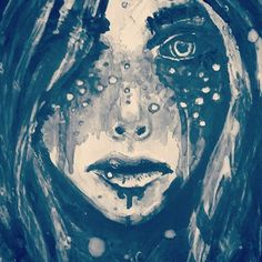 Cold silence cuts deep, a clean wound that with frost - bites hard through frigid flesh. Eyes stone gazing peppered flecks of star on ocean abyss. Her kiss comes wistful, siren's maw and blackblood tongue to lick new deadened heart, for sung is her song and now her sorrows feed on once loved prey. #painting #igart #igpoet #igpoetry #words #spilledink #abyss #siren #lure #sorrow #instapoet #instaart #instapainting #nashville #maw #freckles #stars #blue #art #cyan #moonchild #darkart #witch