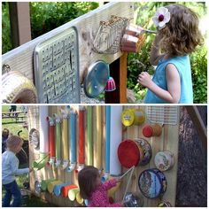 reate a music wall station for your little Beethoven using kitchen utensils. It looks like fun and the whole family can enjoy! Check instructions--> http://wonderfuldiy.com/wonderful-diy-outdoor-music-wall-station-for-kids/