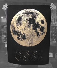 2014 Moon Phases Calendar, 22x30 large screenprint