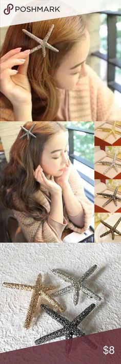 ✨ Starfish hair clip pin accessory barrette Starfish hair clips in three colors. This listing is for GOLD. Beautiful details, the perfect accessory for your summer hair! Bundle up to save. The last two pictures are my own taken in natural sunlight. Enjoy! Accessories Hair Accessories
