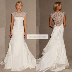2013 New Trends! Stunning Sheer Lace Cover up Back Wedding Dress Custom Made Onsale(China (Mainland))