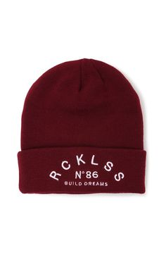"""The women's Build DreamsBeanie by Young & Reckless for PacSun and PacSun.com offers an embroidered front and folded hem. We love the soft knit construction and comfortable fit. Wear this fora stylish andedgy accessory with your looks this season!9"""" height100% acrylicDry clean onlyImported"""