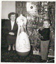 Vintage Christmas Photograph ~ Little Boy w/ BB Gun and Pluto Roly Poly * Circa 1950's