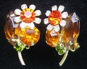 Topaz Rhinestone Earrings Topaz Orange,Peridot Jewelry JULIANA Style Vintage Flower Retro Fashion Clip On