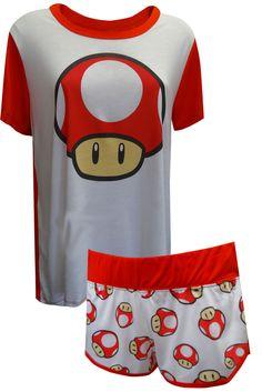 3d0f529fe8e8 Nintendo Super Mario Super Mushroom Power Up Shortie Pajama for women  Disney Pajamas