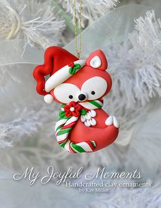 Handcrafted Polymer Clay Fox Ornament Plus
