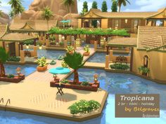 A Tropical Resort with 2 Bedrooms Found in TSR Category 'Sims 4 Residential Lots' Sims 4 House Plans, Sims 4 House Building, Sims 4 Penthouse, Tropicana Resort, The Sims 4 Lots, Sims 4 House Design, Casas The Sims 4, Sims 4 Build, Sims 4 Game