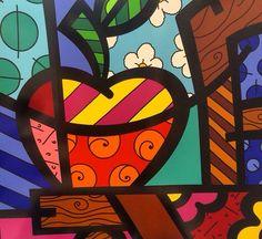 Apple pop-art by Romero Britto Picasso, September Art, Arte Country, Graffiti Painting, Arte Pop, Bottle Painting, Modern Artists, Tapestry Weaving, Cartoon Styles