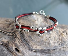 Leather Bracelet with Silver flowers B83 by LKArtChic on Etsy