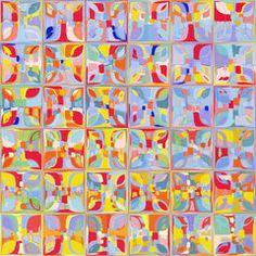 Summer Pastel Tiles. Modern Tile Art Painting