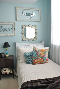 """Buy old frames cheap at antique store or flea market. Remove glass. Lightly sand frame with steel wool. Whitewash the wood.  Then """"frame"""" letters...monogram, initials, sorority letters, etc. could do kids names, colored frames to match room. Or other words for different rooms..."""